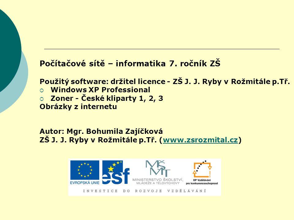 Počítačové sítě – informatika 7. ročník ZŠ Použitý software: držitel licence - ZŠ J. J. Ryby v Rožmitále p.Tř.  Windows XP Professional  Zoner - Čes