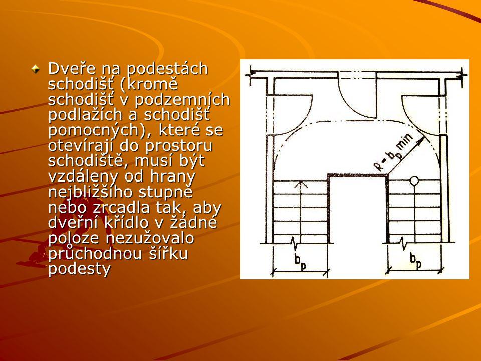 Dveře na podestách schodišť (kromě schodišť v podzemních podlažích a schodišť pomocných), které se otevírají do prostoru schodiště, musí být vzdáleny