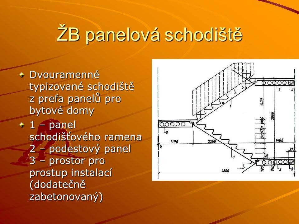 ŽB panelová schodiště Dvouramenné typizované schodiště z prefa panelů pro bytové domy 1 – panel schodišťového ramena 2 – podestový panel 3 – prostor pro prostup instalací (dodatečně zabetonovaný)