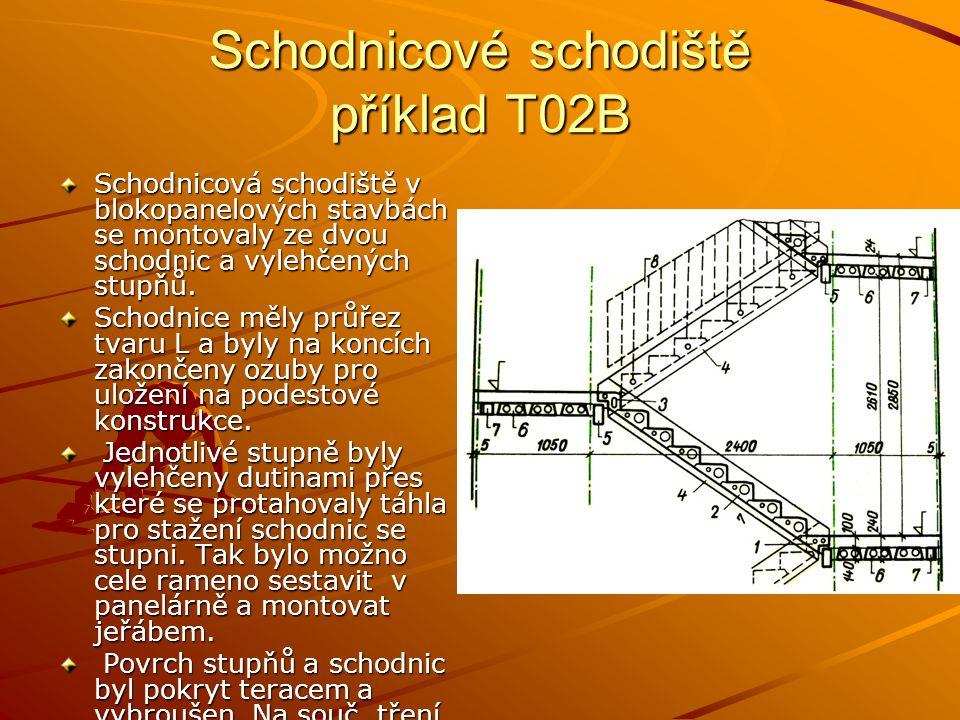 Schodnicové schodiště příklad T02B Schodnicová schodiště v blokopanelových stavbách se montovaly ze dvou schodnic a vylehčených stupňů. Schodnice měly