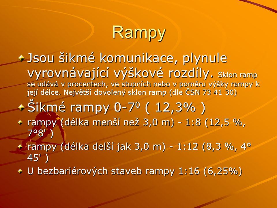 Rampy Jsou šikmé komunikace, plynule vyrovnávající výškové rozdíly.