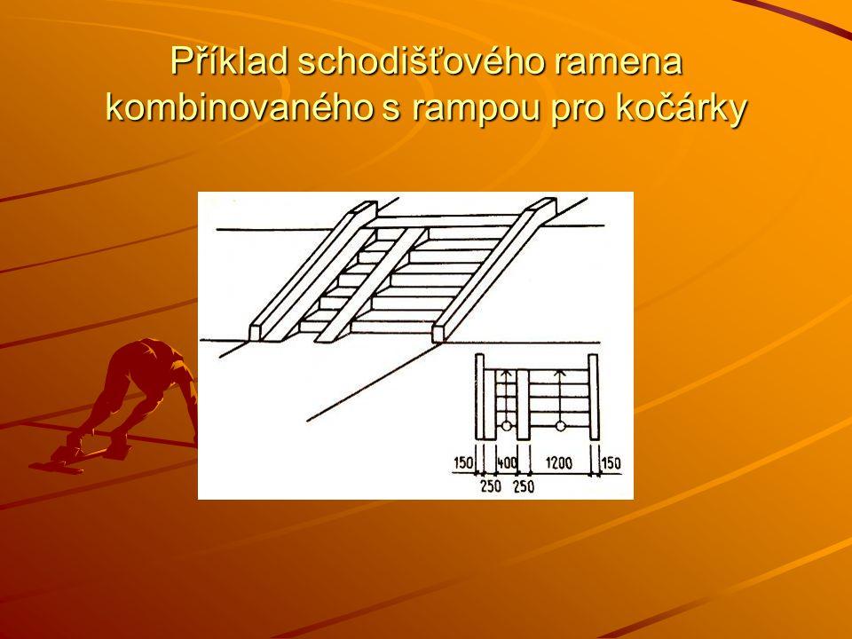 Příklad schodišťového ramena kombinovaného s rampou pro kočárky
