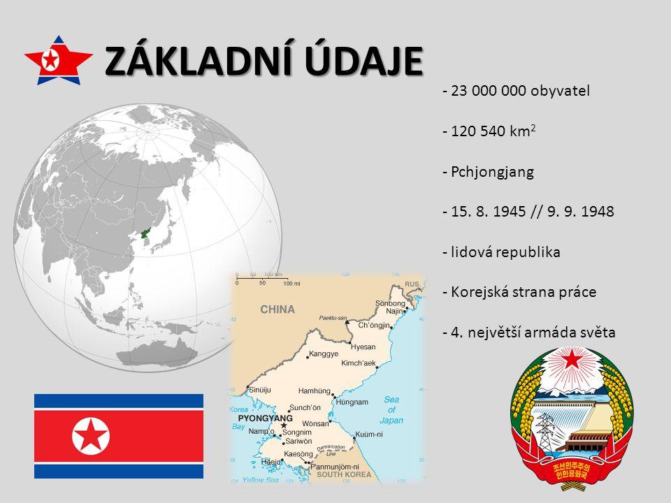 ZÁKLADNÍ ÚDAJE - 23 000 000 obyvatel - 120 540 km 2 - Pchjongjang - 15. 8. 1945 // 9. 9. 1948 - lidová republika - Korejská strana práce - 4. největší