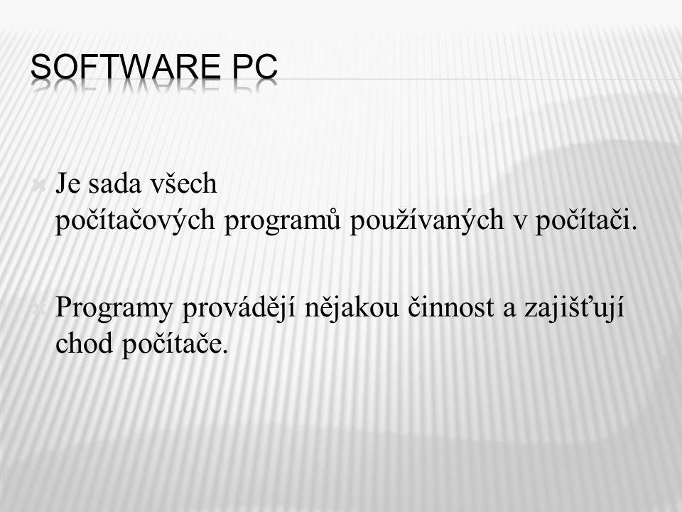  Je sada všech počítačových programů používaných v počítači.