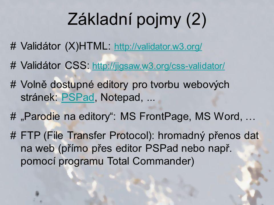 Nastavení editoru PSPad (1) Nastavení -> Nastavení programu