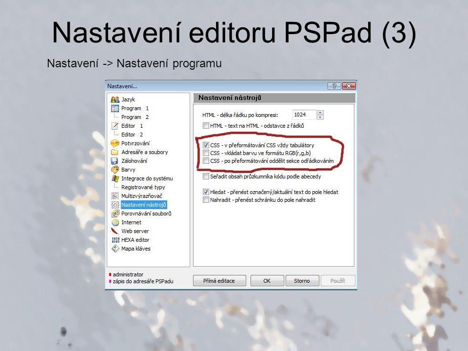 Nastavení editoru PSPad (4)