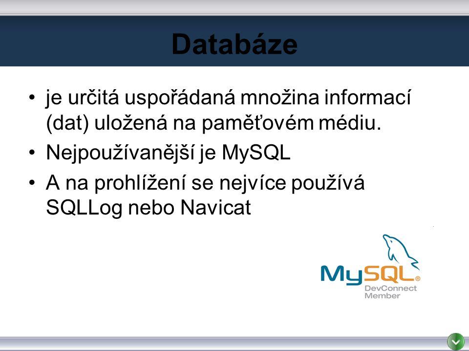 Databáze je určitá uspořádaná množina informací (dat) uložená na paměťovém médiu.