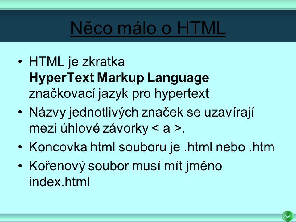 Něco málo o HTML HTML je zkratka HyperText Markup Language značkovací jazyk pro hypertext Názvy jednotlivých značek se uzavírají mezi úhlové závorky.