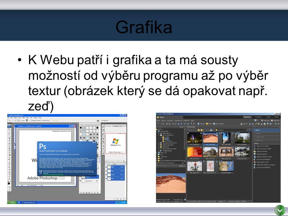 Grafika K Webu patří i grafika a ta má sousty možností od výběru programu až po výběr textur (obrázek který se dá opakovat např.