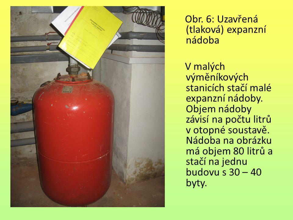 Obr. 6: Uzavřená (tlaková) expanzní nádoba V malých výměníkových stanicích stačí malé expanzní nádoby. Objem nádoby závisí na počtu litrů v otopné sou