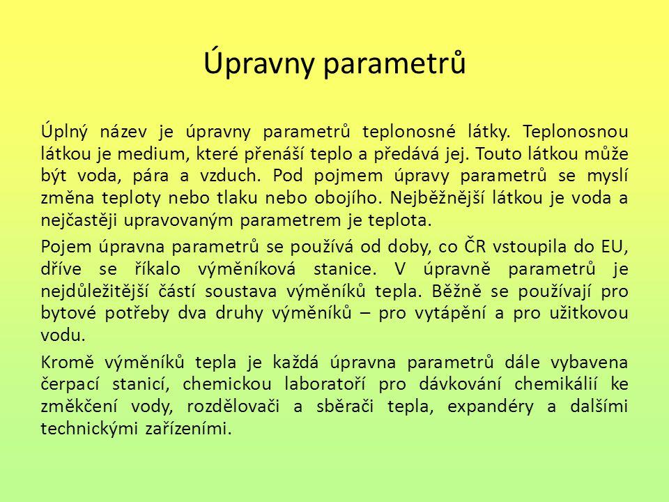 Úpravny parametrů Úplný název je úpravny parametrů teplonosné látky. Teplonosnou látkou je medium, které přenáší teplo a předává jej. Touto látkou můž