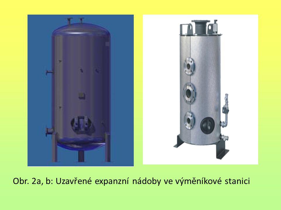 Obr. 2a, b: Uzavřené expanzní nádoby ve výměníkové stanici