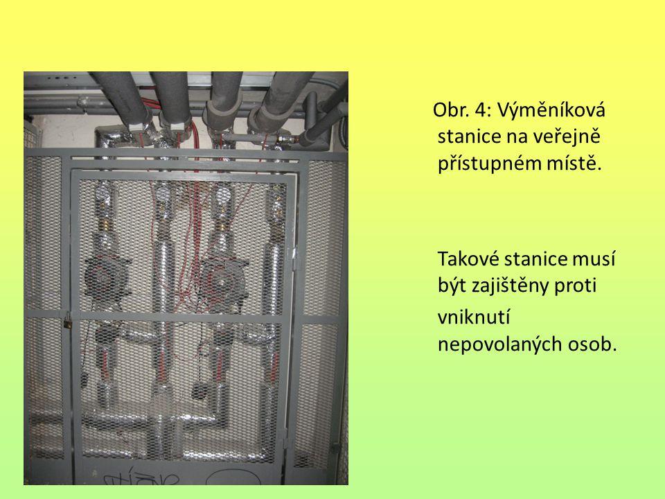 Obr. 4: Výměníková stanice na veřejně přístupném místě. Takové stanice musí být zajištěny proti vniknutí nepovolaných osob.
