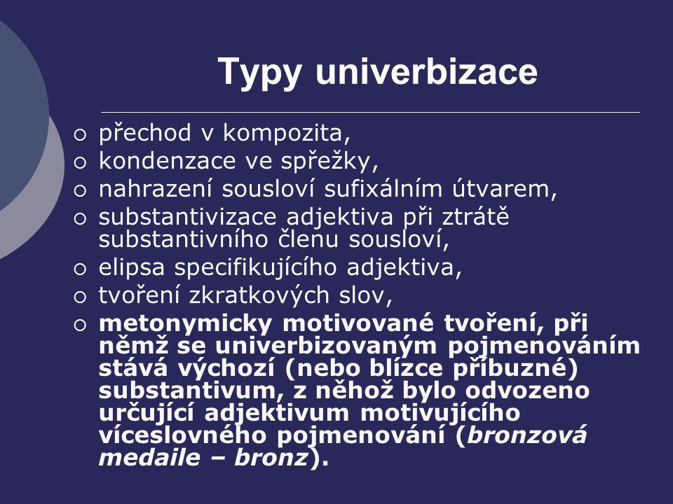 Typy univerbizace  přechod v kompozita,  kondenzace ve spřežky,  nahrazení sousloví sufixálním útvarem,  substantivizace adjektiva při ztrátě subs