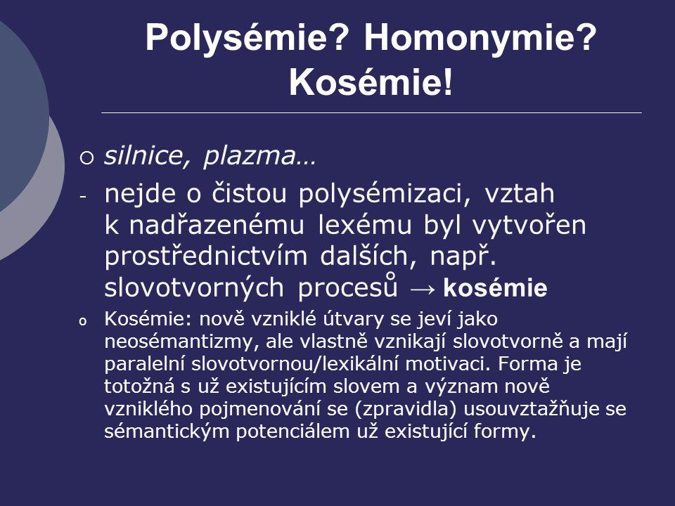 Polysémie? Homonymie? Kosémie!  silnice, plazma… - nejde o čistou polysémizaci, vztah k nadřazenému lexému byl vytvořen prostřednictvím dalších, např