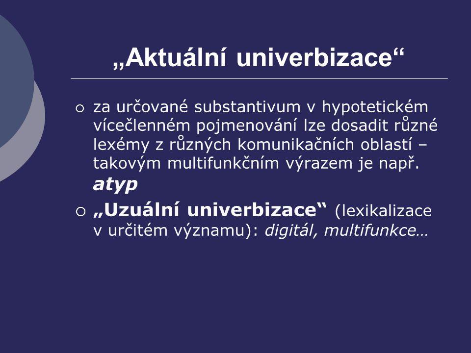 """""""Aktuální univerbizace""""  za určované substantivum v hypotetickém vícečlenném pojmenování lze dosadit různé lexémy z různých komunikačních oblastí – t"""