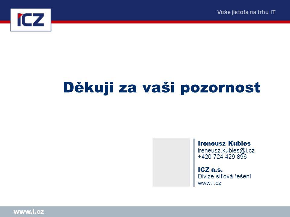 Vaše jistota na trhu IT www.i.cz Děkuji za vaši pozornost Ireneusz Kubies ireneusz.kubies@i.cz +420 724 429 896 ICZ a.s. Divize síťová řešení www.i.cz