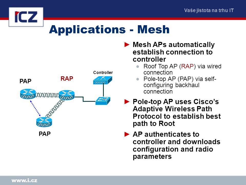 Vaše jistota na trhu IT www.i.cz Applications - Mesh Controller ►Mesh APs automatically establish connection to controller ●Roof Top AP (RAP) via wire