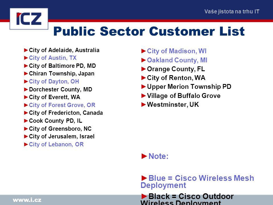 Vaše jistota na trhu IT www.i.cz Public Sector Customer List ►City of Adelaide, Australia ►City of Austin, TX ►City of Baltimore PD, MD ►Chiran Townsh