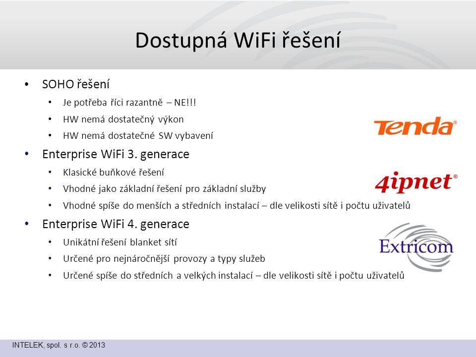INTELEK, spol. s r.o. © 2013 Dostupná WiFi řešení SOHO řešení Je potřeba říci razantně – NE!!.