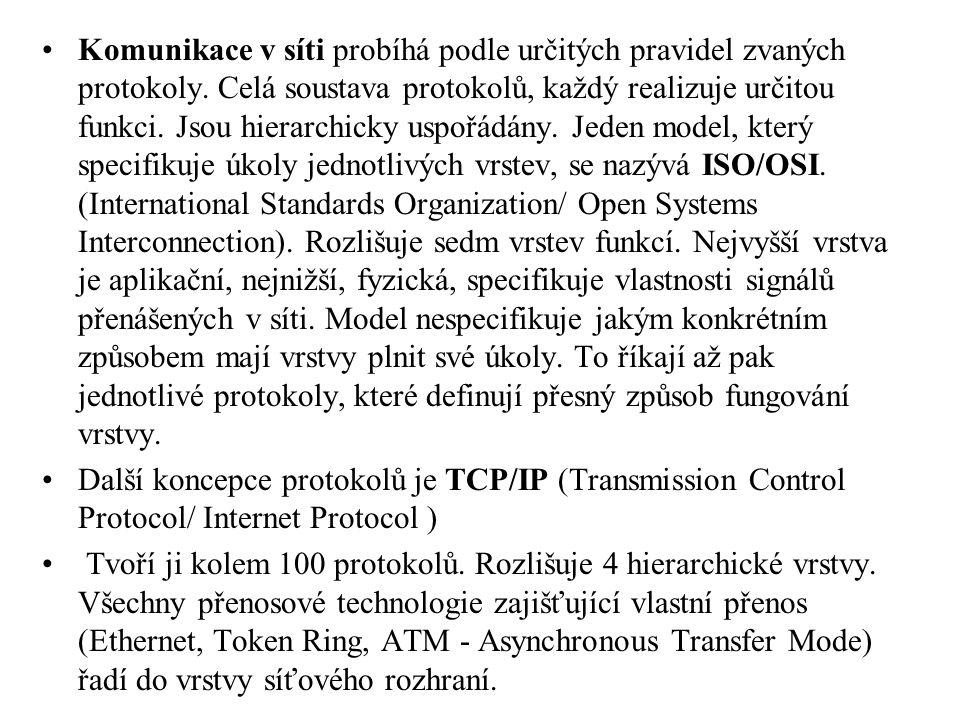 Komunikace v síti probíhá podle určitých pravidel zvaných protokoly. Celá soustava protokolů, každý realizuje určitou funkci. Jsou hierarchicky uspořá