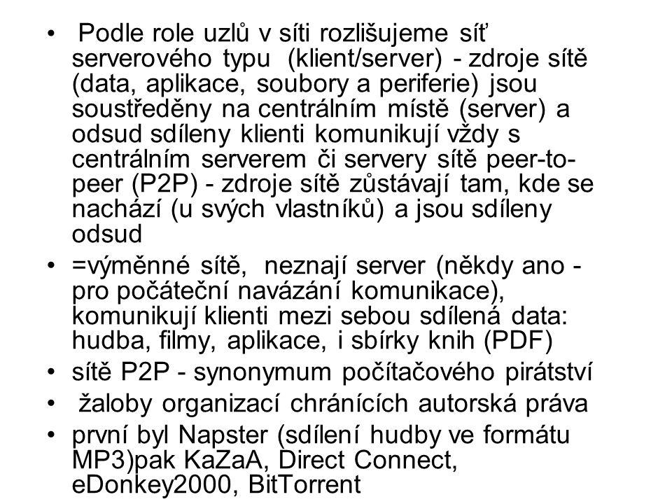 Podle role uzlů v síti rozlišujeme síť serverového typu (klient/server) - zdroje sítě (data, aplikace, soubory a periferie) jsou soustředěny na centrálním místě (server) a odsud sdíleny klienti komunikují vždy s centrálním serverem či servery sítě peer-to- peer (P2P) - zdroje sítě zůstávají tam, kde se nachází (u svých vlastníků) a jsou sdíleny odsud =výměnné sítě, neznají server (někdy ano - pro počáteční navázání komunikace), komunikují klienti mezi sebou sdílená data: hudba, filmy, aplikace, i sbírky knih (PDF) sítě P2P - synonymum počítačového pirátství žaloby organizací chránících autorská práva první byl Napster (sdílení hudby ve formátu MP3)pak KaZaA, Direct Connect, eDonkey2000, BitTorrent