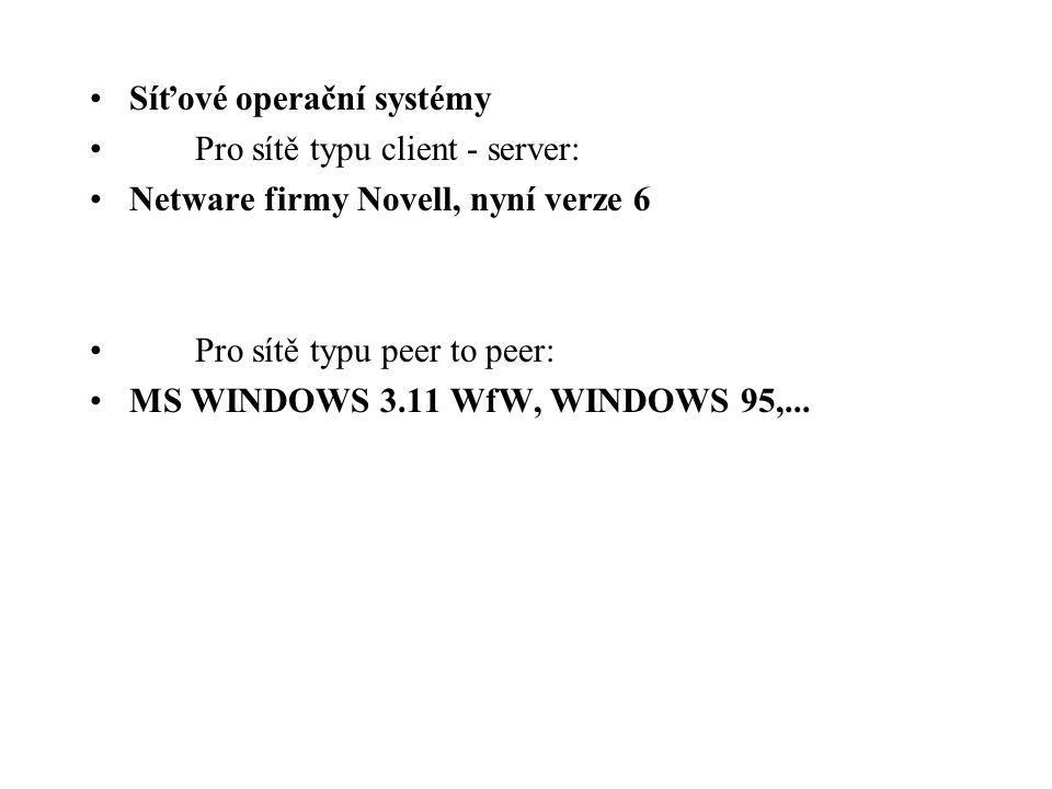Síťové operační systémy Pro sítě typu client - server: Netware firmy Novell, nyní verze 6 Pro sítě typu peer to peer: MS WINDOWS 3.11 WfW, WINDOWS 95,...