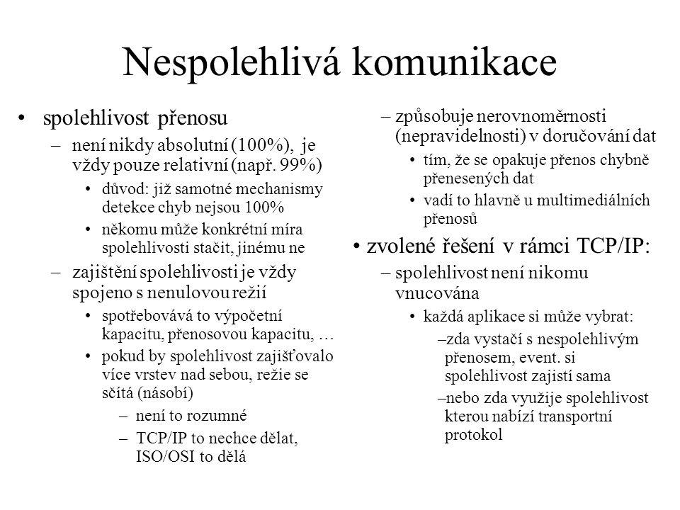 Nespolehlivá komunikace spolehlivost přenosu –není nikdy absolutní (100%), je vždy pouze relativní (např.