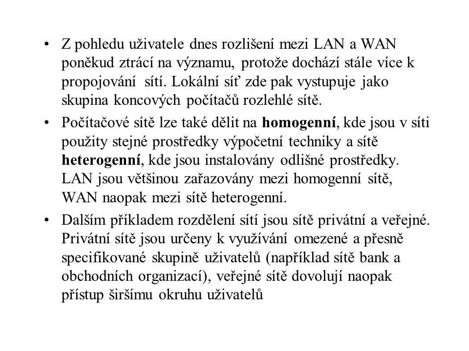 Z pohledu uživatele dnes rozlišení mezi LAN a WAN poněkud ztrácí na významu, protože dochází stále více k propojování sítí.