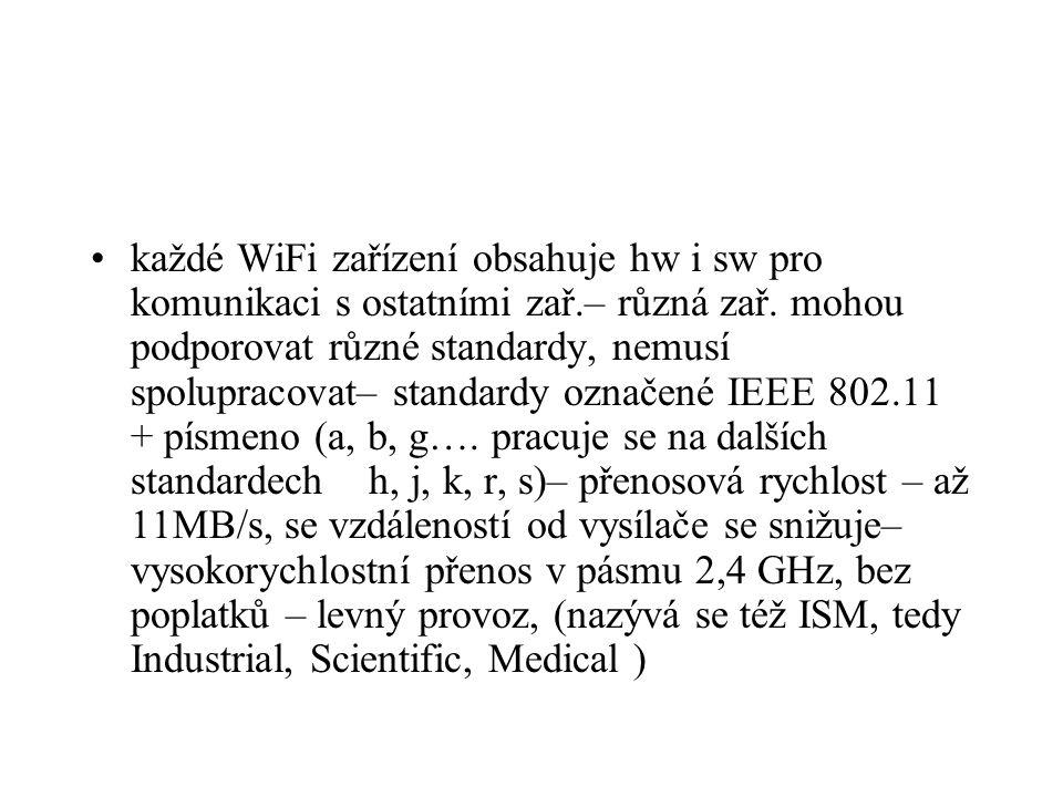 každé WiFi zařízení obsahuje hw i sw pro komunikaci s ostatními zař.– různá zař. mohou podporovat různé standardy, nemusí spolupracovat– standardy ozn