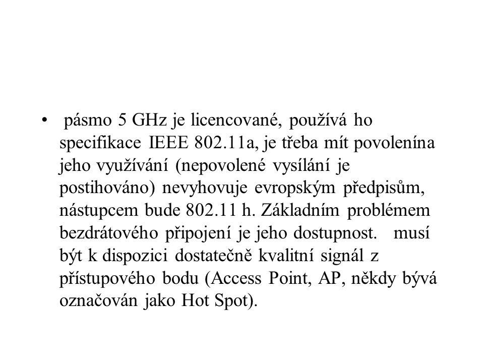 pásmo 5 GHz je licencované, používá ho specifikace IEEE 802.11a, je třeba mít povolenína jeho využívání (nepovolené vysílání je postihováno) nevyhovuj