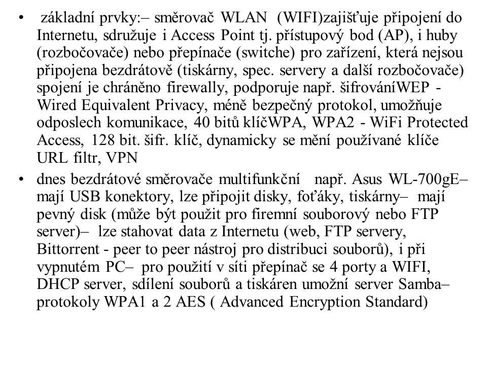 základní prvky:– směrovač WLAN (WIFI)zajišťuje připojení do Internetu, sdružuje i Access Point tj. přístupový bod (AP), i huby (rozbočovače) nebo přep