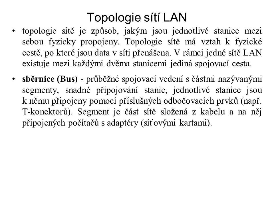 Topologie sítí LAN topologie sítě je způsob, jakým jsou jednotlivé stanice mezi sebou fyzicky propojeny. Topologie sítě má vztah k fyzické cestě, po k