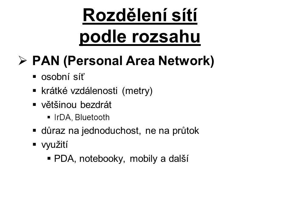  PAN (Personal Area Network)  osobní síť  krátké vzdálenosti (metry)  většinou bezdrát  IrDA, Bluetooth  důraz na jednoduchost, ne na průtok  využití  PDA, notebooky, mobily a další Rozdělení sítí podle rozsahu
