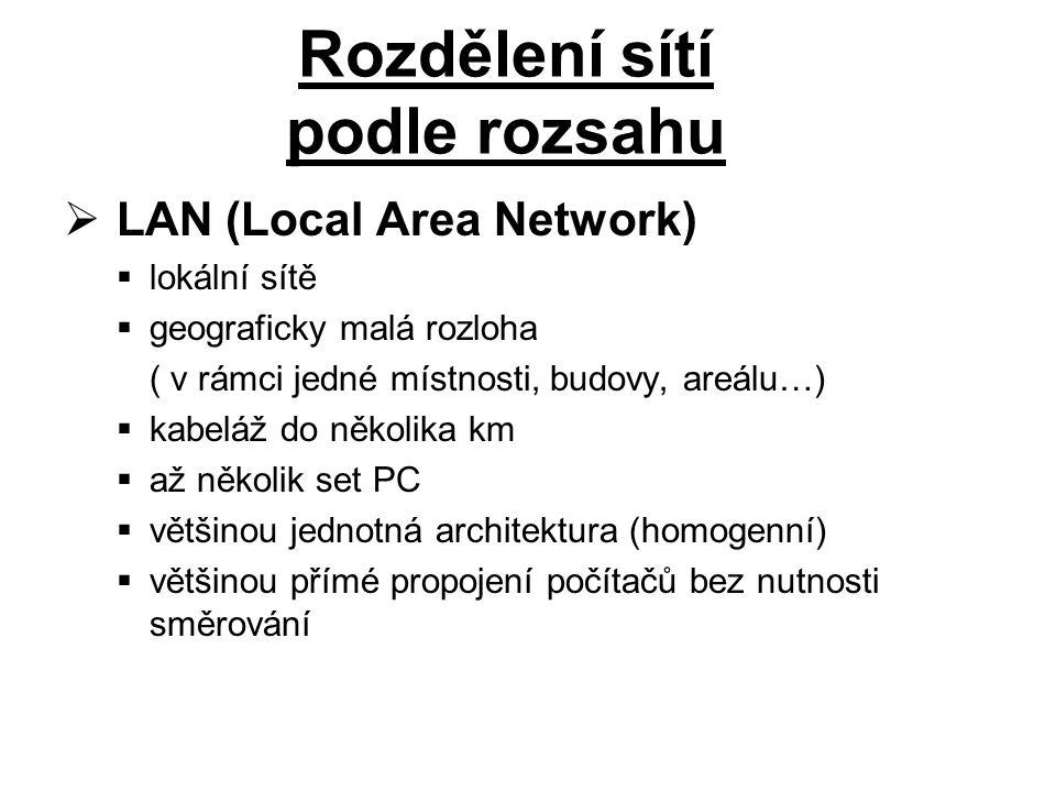  LAN (Local Area Network)  lokální sítě  geograficky malá rozloha ( v rámci jedné místnosti, budovy, areálu…)  kabeláž do několika km  až několik set PC  většinou jednotná architektura (homogenní)  většinou přímé propojení počítačů bez nutnosti směrování Rozdělení sítí podle rozsahu