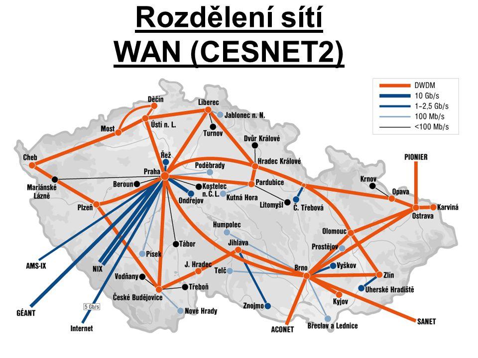 Rozdělení sítí WAN (CESNET2)
