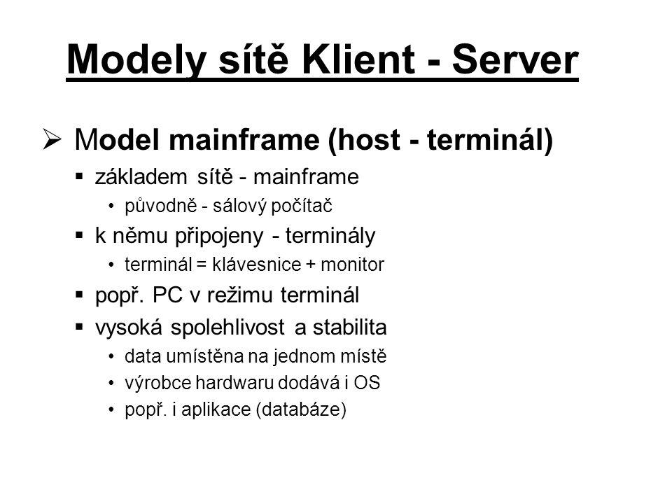  Model mainframe (host - terminál)  základem sítě - mainframe původně - sálový počítač  k němu připojeny - terminály terminál = klávesnice + monitor  popř.