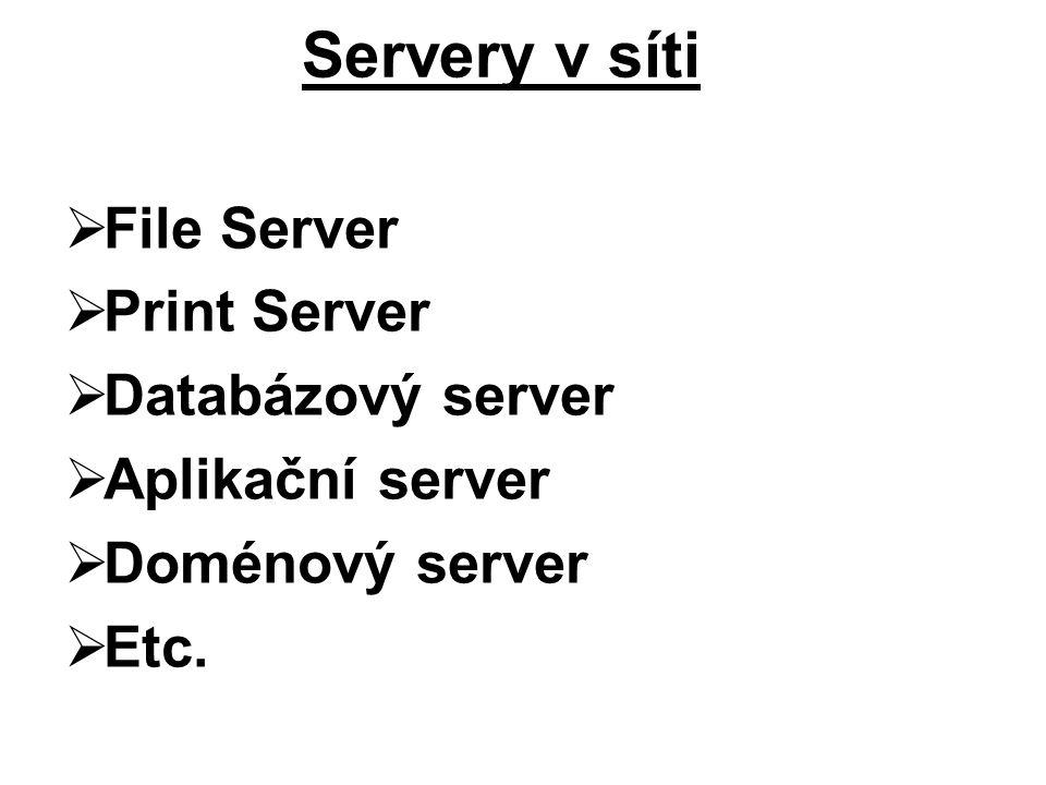  File Server  Print Server  Databázový server  Aplikační server  Doménový server  Etc. Servery v síti