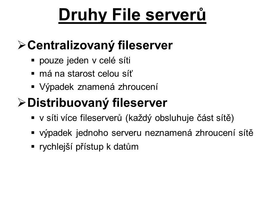  Centralizovaný fileserver  pouze jeden v celé síti  má na starost celou síť  Výpadek znamená zhroucení  Distribuovaný fileserver  v síti více fileserverů (každý obsluhuje část sítě)  výpadek jednoho serveru neznamená zhroucení sítě  rychlejší přístup k datům Druhy File serverů