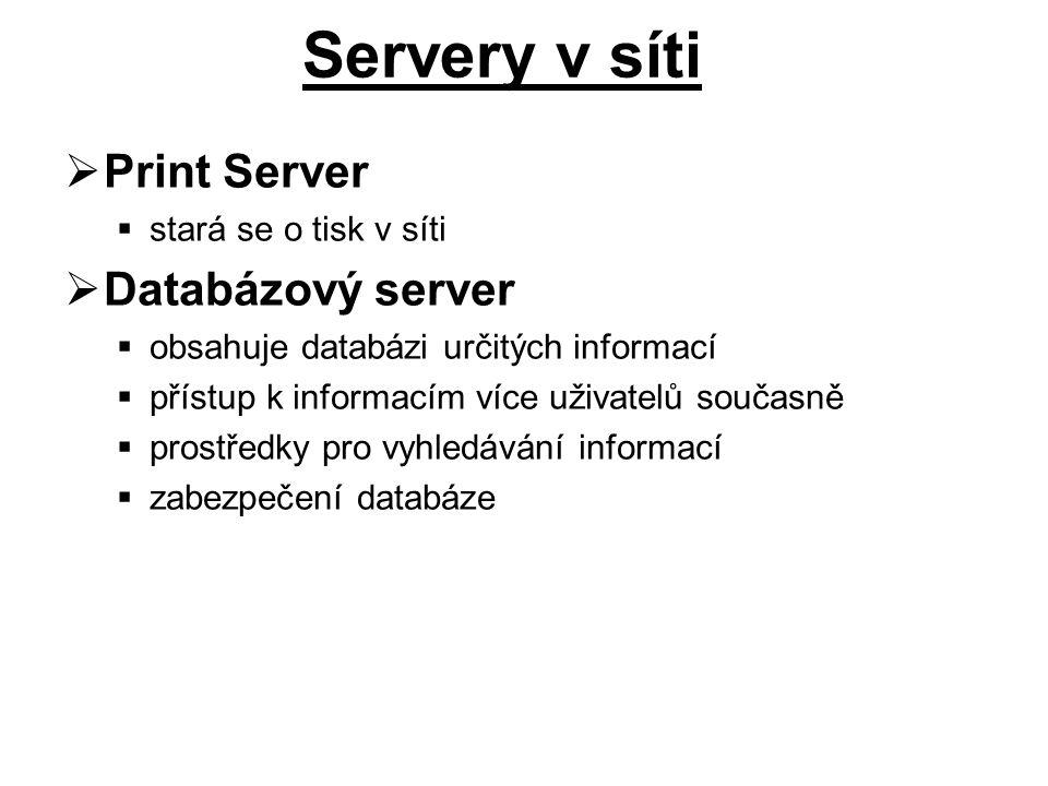  Print Server  stará se o tisk v síti  Databázový server  obsahuje databázi určitých informací  přístup k informacím více uživatelů současně  prostředky pro vyhledávání informací  zabezpečení databáze Servery v síti