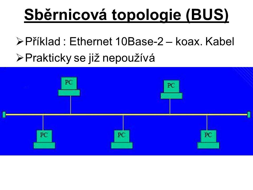Sběrnicová topologie (BUS)  Příklad : Ethernet 10Base-2 – koax. Kabel  Prakticky se již nepoužívá