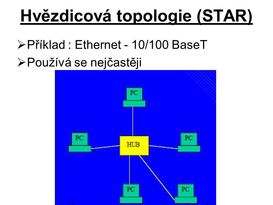 Hvězdicová topologie (STAR)  Příklad : Ethernet - 10/100 BaseT  Používá se nejčastěji