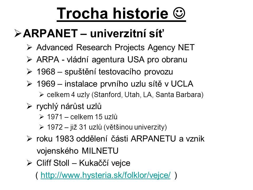  ARPANET – univerzitní síť  Advanced Research Projects Agency NET  ARPA - vládní agentura USA pro obranu  1968 – spuštění testovacího provozu  19