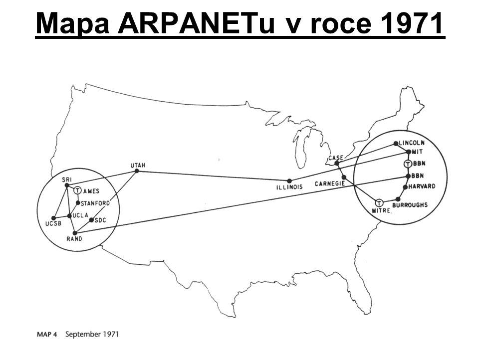 Mapa ARPANETu v roce 1971
