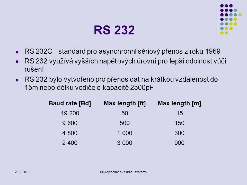 21.2.2011Mikropočítačové řídicí systémy4 RS 232 Modulační rychlost Baud[Bd], přenosová rychlost[bit/s], přenosový výkon[bit/s] +12V pro úroveň L(space state) a –12V pro úroveň H(marking state) řízení přenosu (vstupy DCD, DSR, CTS, RI, výstupy DTR, RTS)