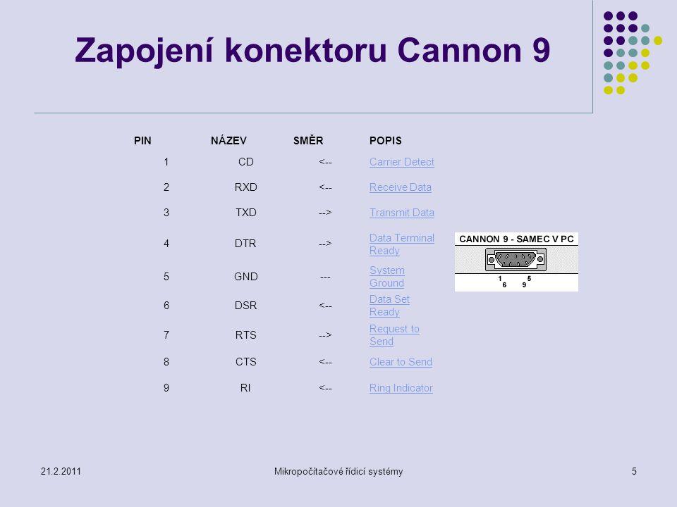 5 Zapojení konektoru Cannon 9 PIN NÁZEV SMĚR POPIS 1CD<--Carrier Detect 2RXD<--Receive Data 3TXD-->Transmit Data 4DTR--> Data Terminal Ready 5GND--- S