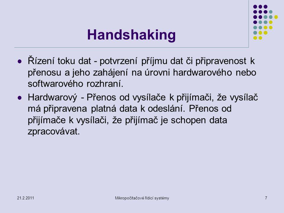 21.2.2011Mikropočítačové řídicí systémy8 Handshaking Softwarový - Pomocí běžného datového kanálu přijímač vysílači sdělí, zda je schopen data přijímat a zpracovávat.