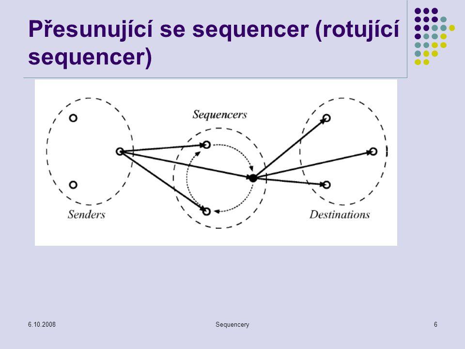 6.10.2008Sequencery7 Sekvenční doručování Algoritmy s předáváním oprávnění - broadcast Vysílače mohou vysílat jen tehdy, pokud k tomu mají pověření Často založeny na logickém kruhu