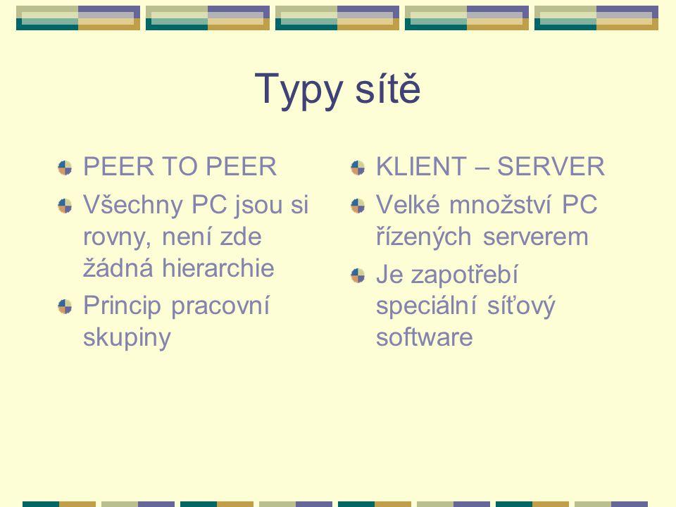 Typy sítě PEER TO PEER Všechny PC jsou si rovny, není zde žádná hierarchie Princip pracovní skupiny KLIENT – SERVER Velké množství PC řízených servere