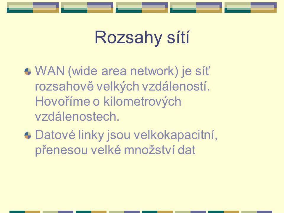 Rozsahy sítí WAN (wide area network) je síť rozsahově velkých vzdáleností. Hovoříme o kilometrových vzdálenostech. Datové linky jsou velkokapacitní, p
